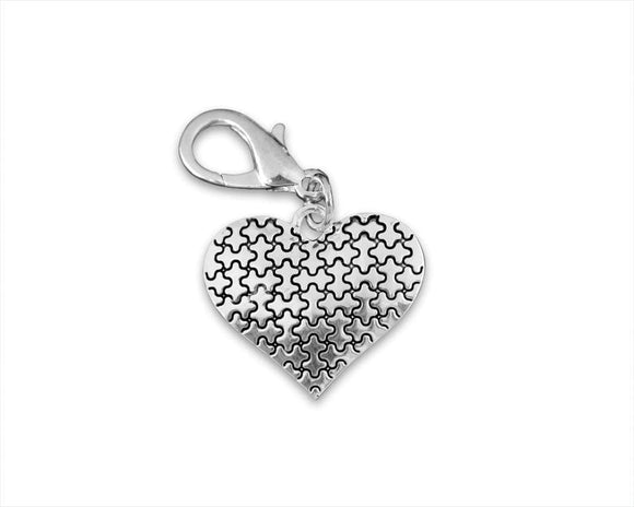 Silver Heart Puzzle Piece Hanging Charm for Autism Awareness - The House of Awareness