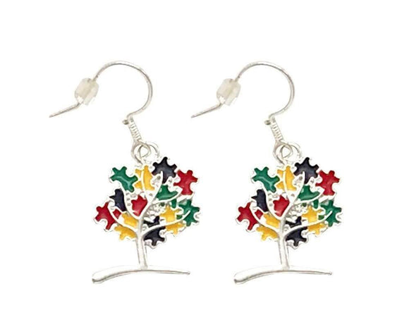 Hanging Autism Puzzle Piece Tree Earrings