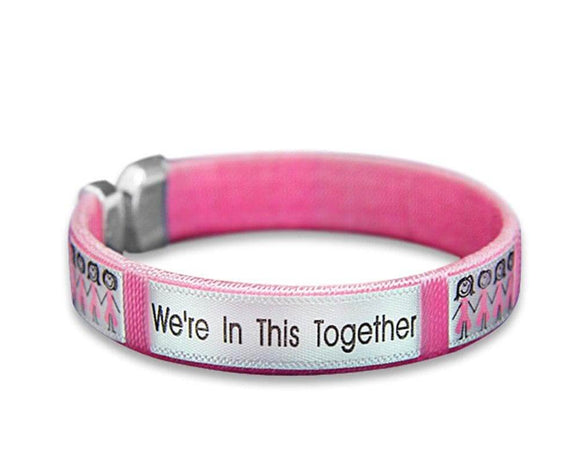 Breast Cancer Awareness Pink Ribbon Together Open Bangle Bracelet