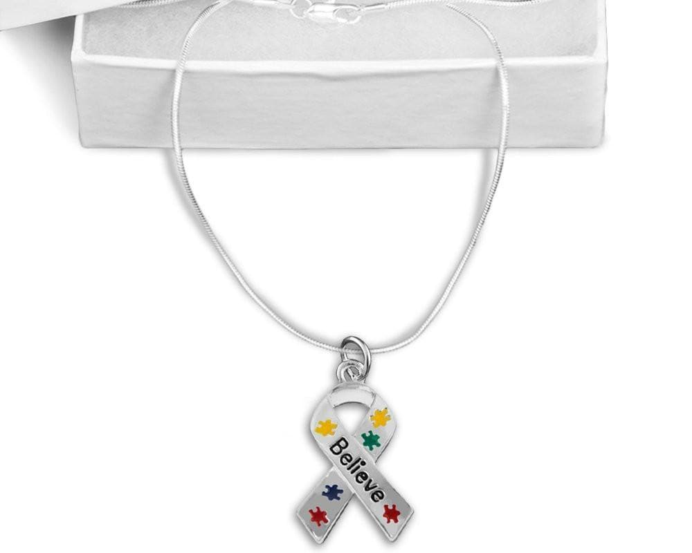 Puzzle Piece Believe Ribbon Necklace for Autism Awareness - The House of Awareness
