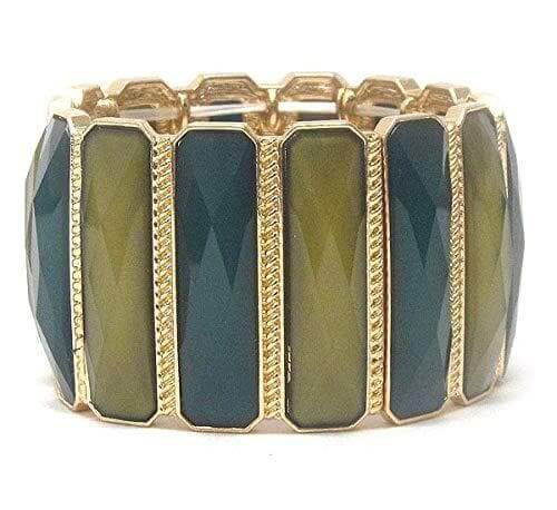 Facet Glass Green Bar Link Stretch Bracelet