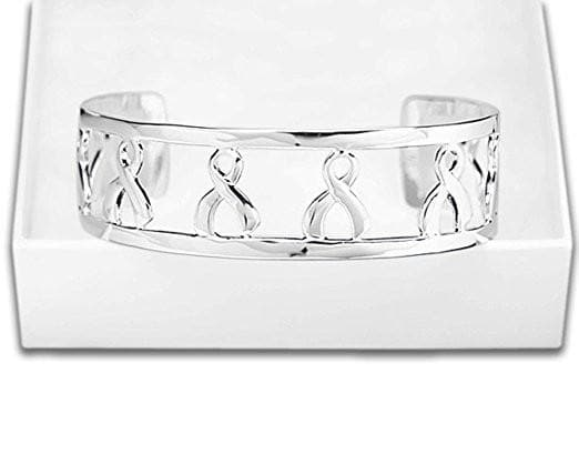 Silver Ribbon Cancer Awareness Cuff Bracelet - The House of Awareness