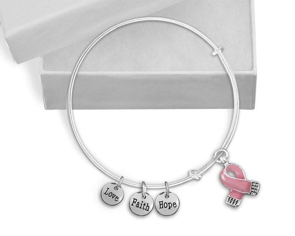 Pink Ribbon Breast Cancer Awareness Retractable Charm Bracelet , Charm Bracelets - The House of Awareness, The House of Awareness  - 1