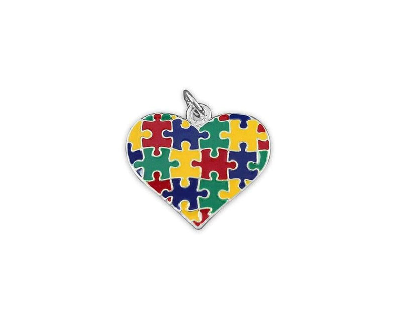Autism Colored Puzzle Heart Charm - The House of Awareness
