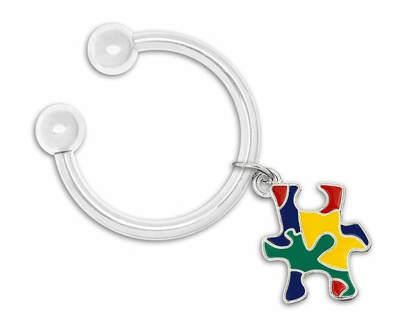 Colored Puzzle Piece Autism Awareness Key Chain - The House of Awareness