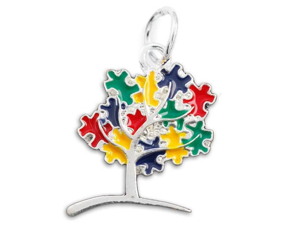 Autism Awareness Puzzle Tree Charm