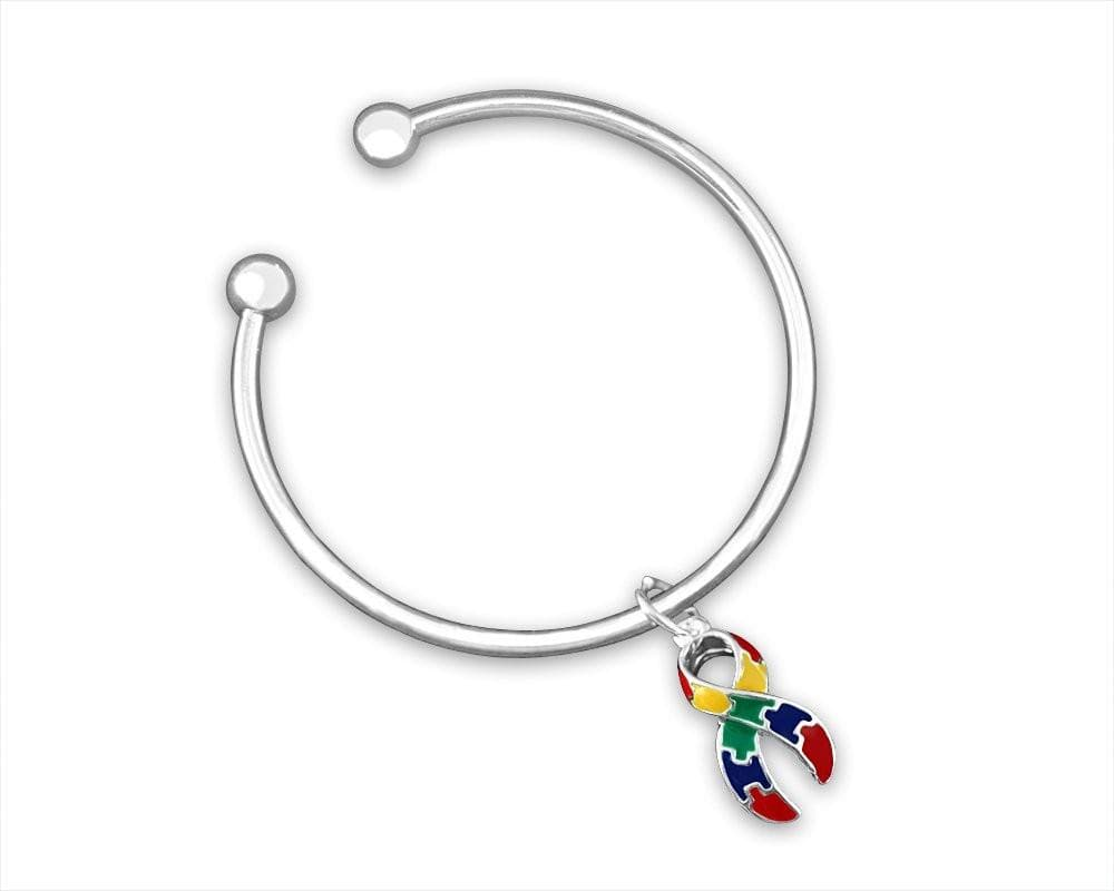 Open Bangle Bracelet with Autism ASD Ribbon Charm - The House of Awareness
