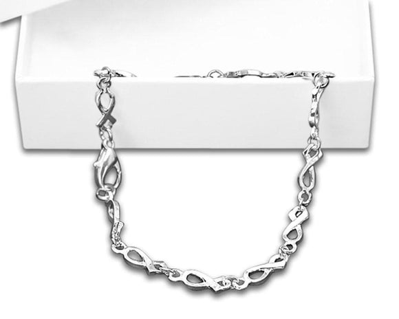 Mental Health Awareness Silver Ribbon Bracelet-Silver Linked in a Gift Box - The House of Awareness