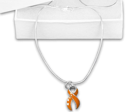 Orange Awareness Ribbon Necklace Ribbon - The House of Awareness