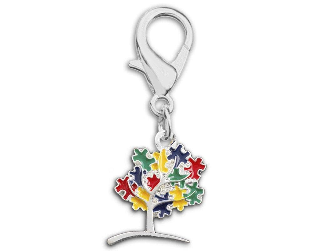 Autism Awareness Tree Puzzle Piece Hanging Charm - The House of Awareness