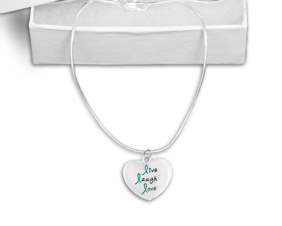 Teal Ribbon Live Laugh Love Necklace for Cancer , Necklaces - The House of Awareness, The House of Awareness  - 1