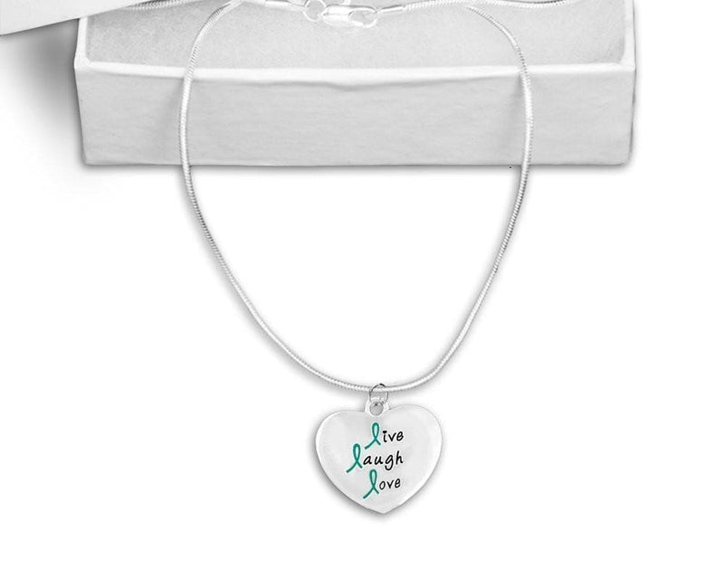 Teal Ribbon Live Laugh Love Necklace for Cancer - The House of Awareness