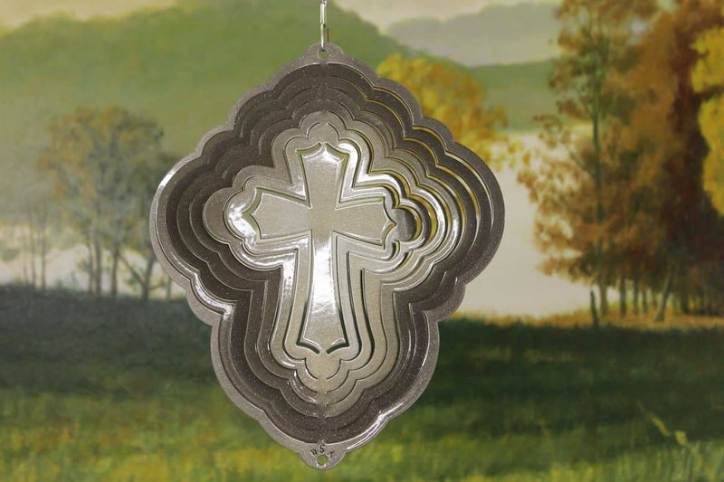 "8"" Silver Cross Wind Spinner - The House of Awareness"