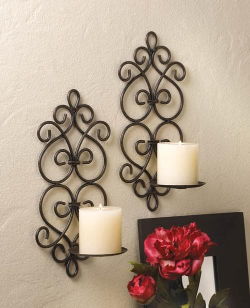 Black Iron Candle Sconce Set