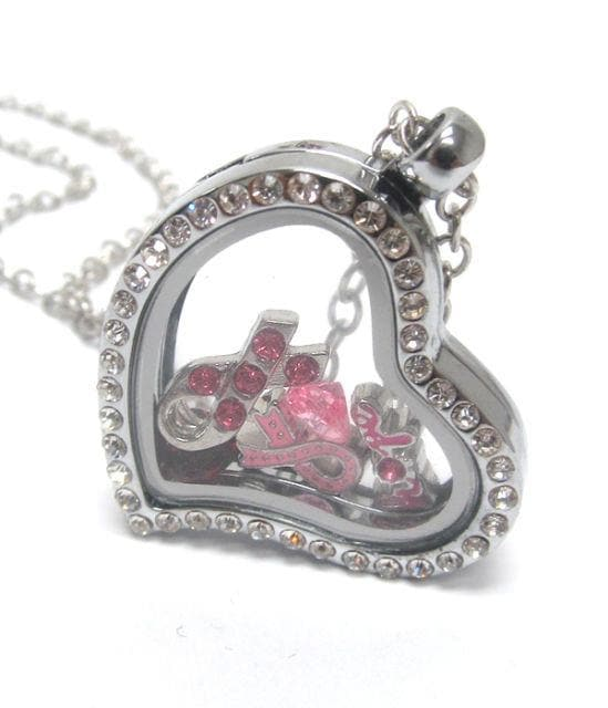 Heart Charm Locket for Breast Cancer - The House of Awareness