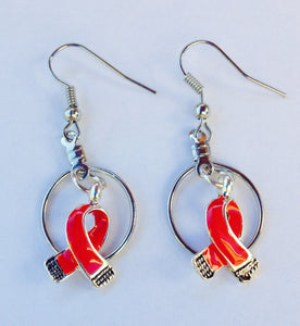 Red Small Hooped Ribbon Charm Earrings for Causes , Earrings - The House of Awareness, The House of Awareness  - 1