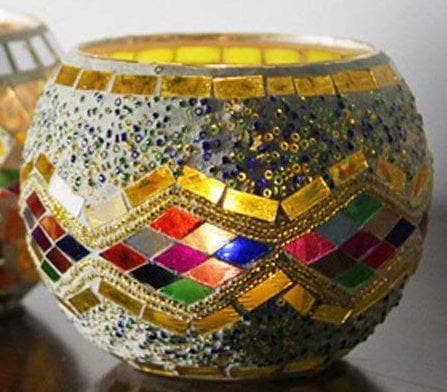Mosaic Glass Multi-Color Diamond Candle Holder - The House of Awareness