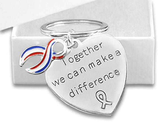 Red, White, Blue Ribbon Key Chain for 4th of July - The House of Awareness