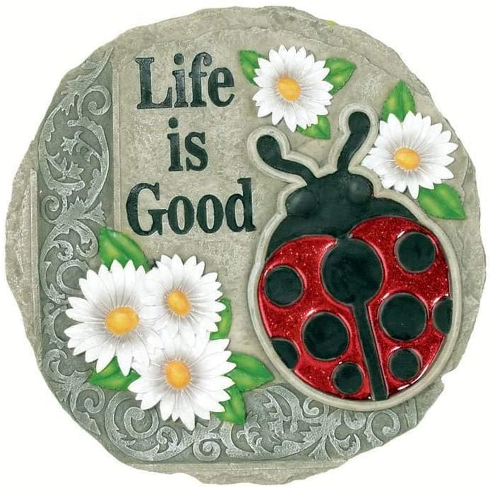 Life is Good Ladybug Decorative Garden Stone
