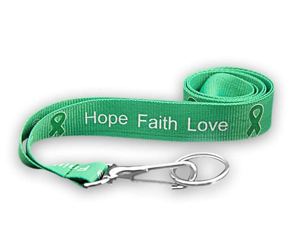 Green Ribbon Lanyard - Hope, Faith, Love for Cancer - The House of Awareness