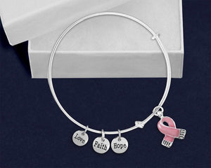 Pink Ribbon Breast Cancer Awareness Retractable Charm Bracelet - The House of Awareness