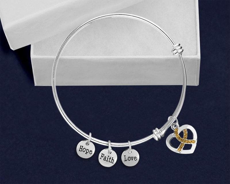 Gold Crystal Ribbon Retractable Charm Bracelet for Causes - The House of Awareness