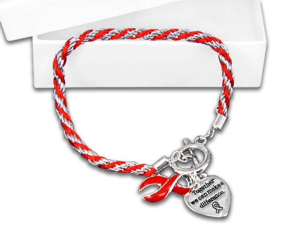 Red Ribbon Bracelets - Rope for Heart Disease Awareness - The House of Awareness