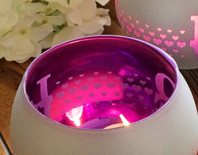 Mosaic Glass Love Candle Holder - The House of Awareness