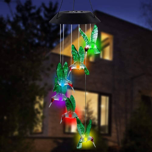 Colorful Solar Six Hummingbird Wind Chimes
