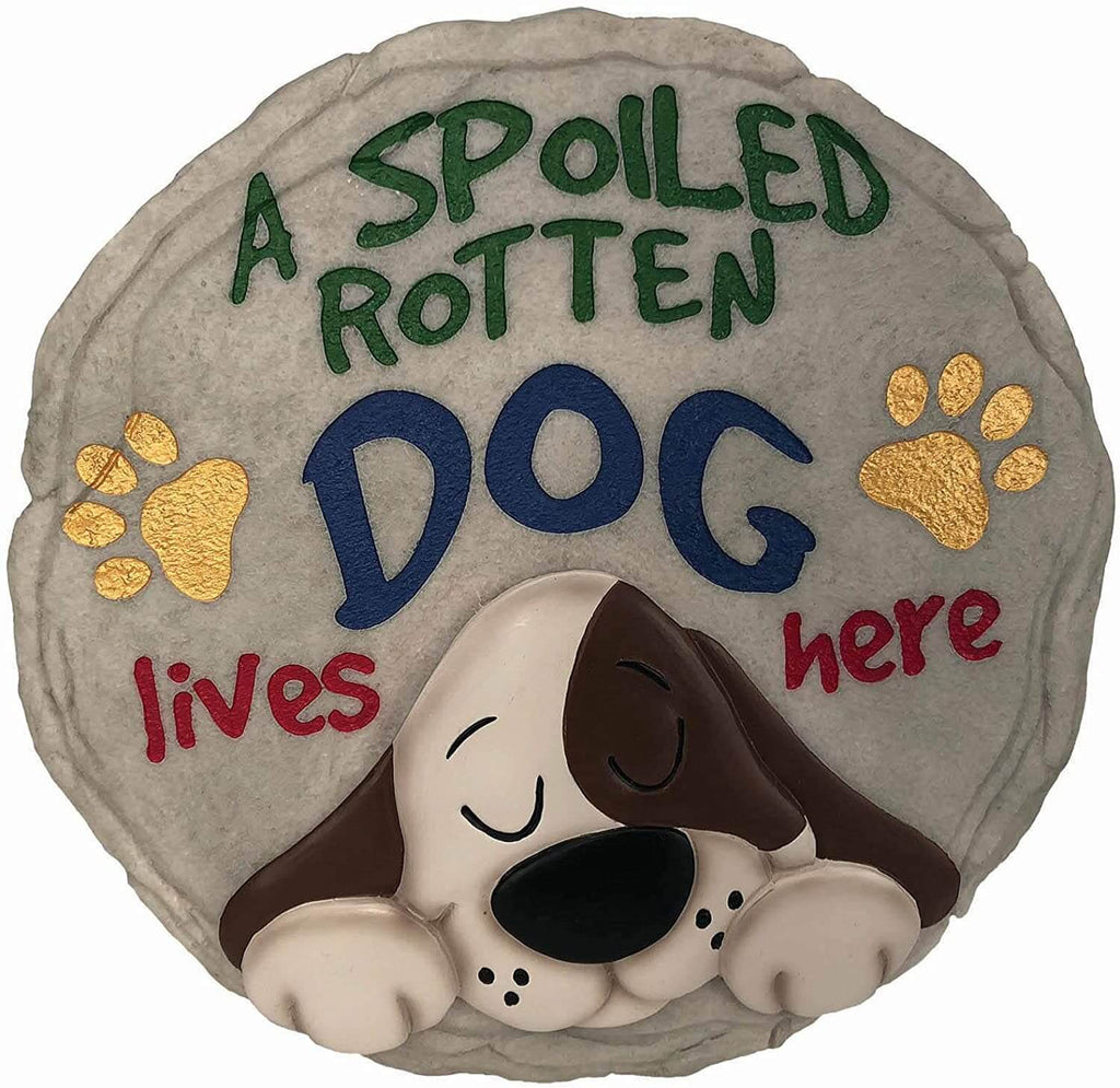 A Spoiled Rotten Dog Decorative Garden Stone
