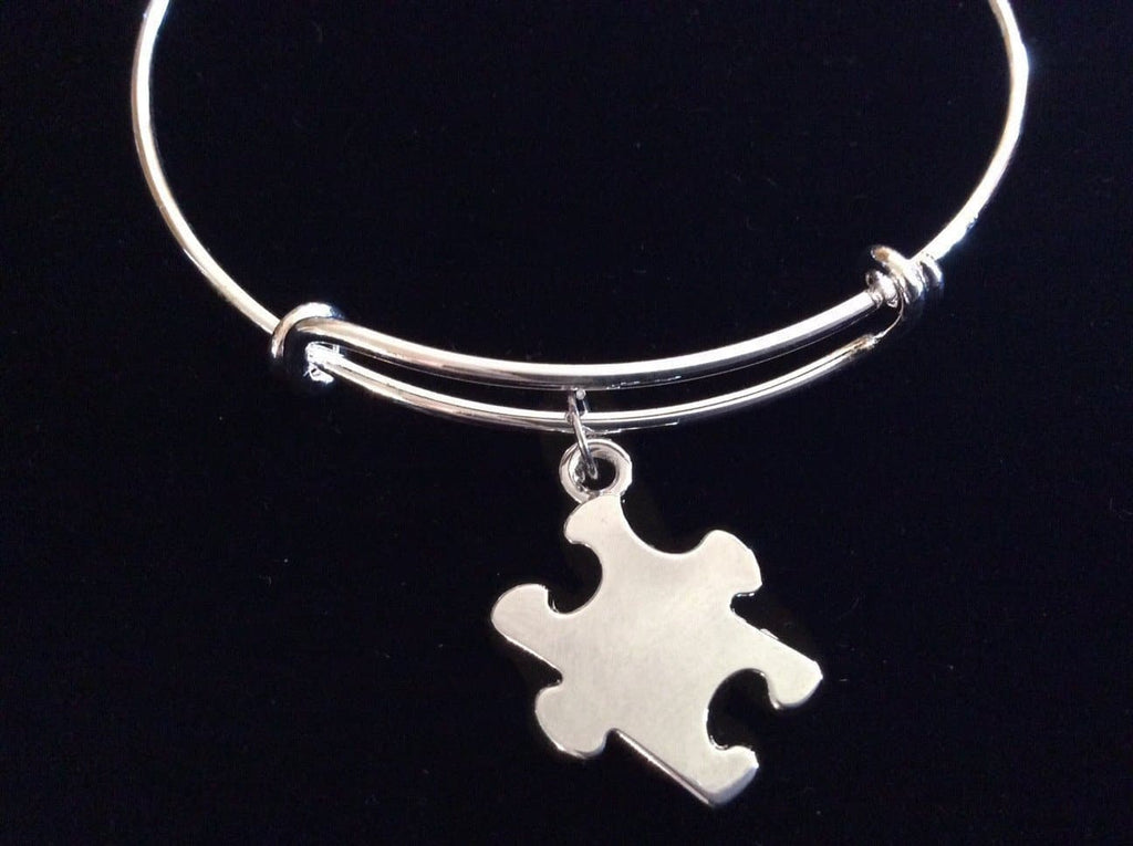 Autism Awareness Silver Puzzle Piece Expandable Charm Bracelet - The House of Awareness