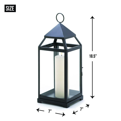 Large Black Contemporary Candle Lantern