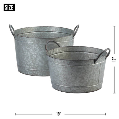 Galvanized Bucket Planter Set Of 2