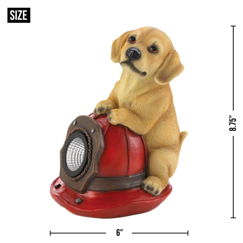 Dog And Fire Helmet and Dogs and Fire Hydrant Solar Statue