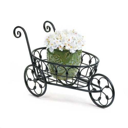 Three Wheeled Black Flower Cart