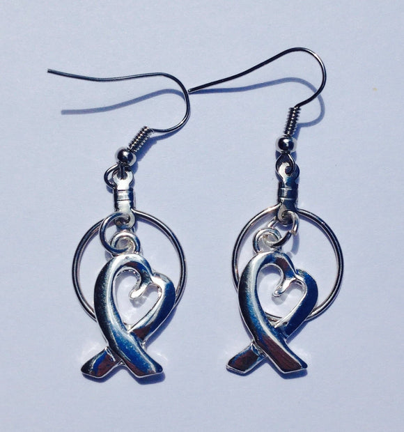 Heart Ribbon Earrings for All Causes - The House of Awareness