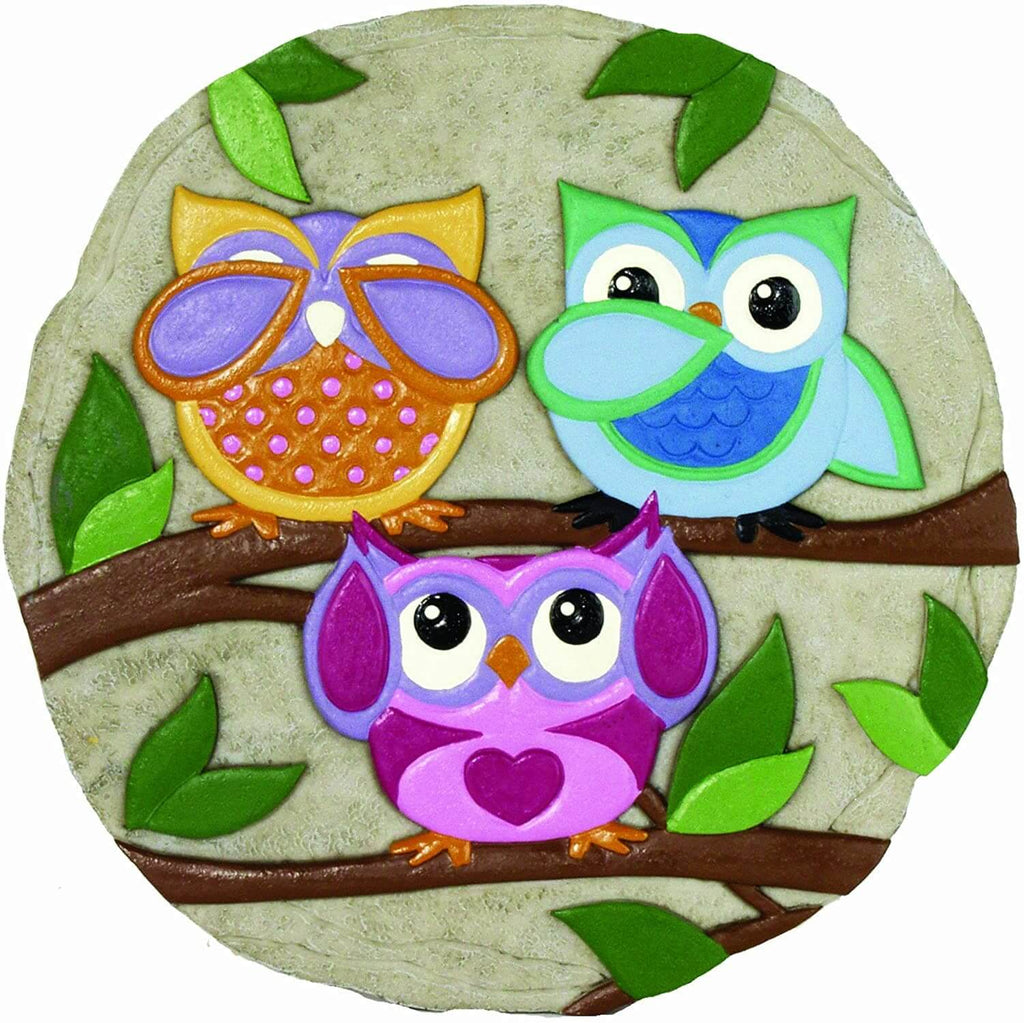 Colorful Owls Decorative Garden Stone