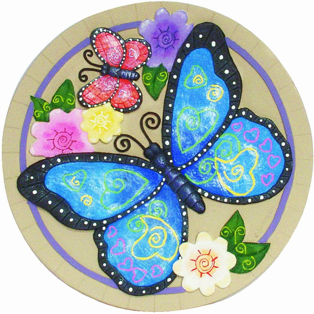 Blue Butterfly and Flowers Decorative Garden Stone