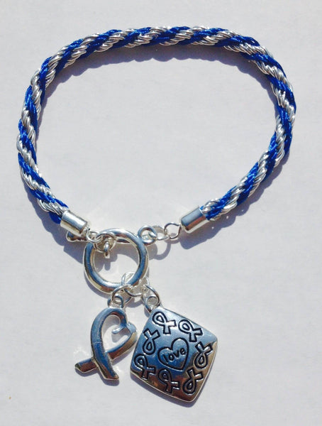 Awareness Causes SUPPORT BLUE Rope Bracelet Puzzle Ribbon and Charm , Bracelets - The House of Awareness, The House of Awareness  - 2