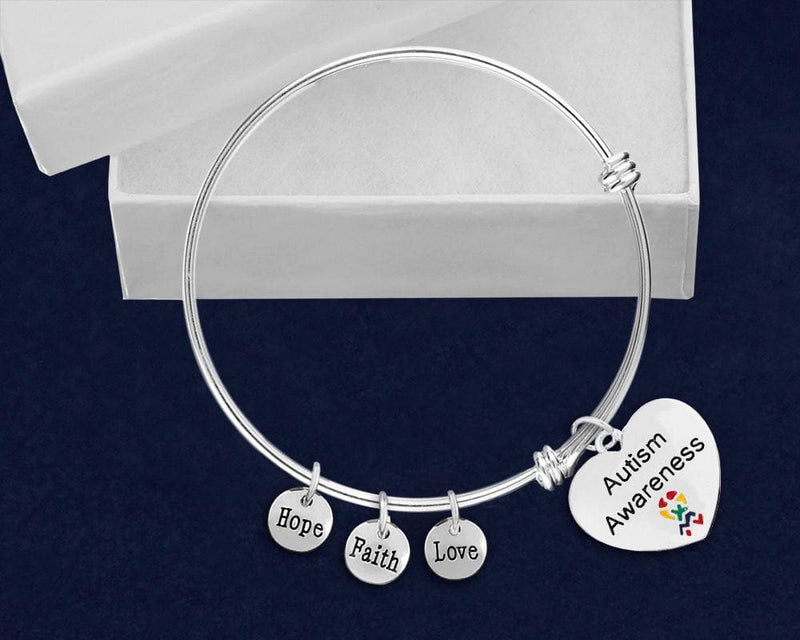 Heart Autism Awareness Retractable Charm Bracelet