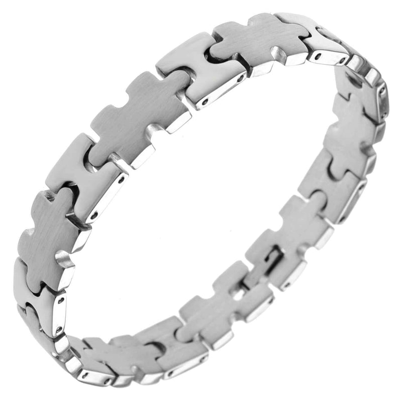 Autism Awareness Stainless Steel Puzzle Bracelet - The House of Awareness
