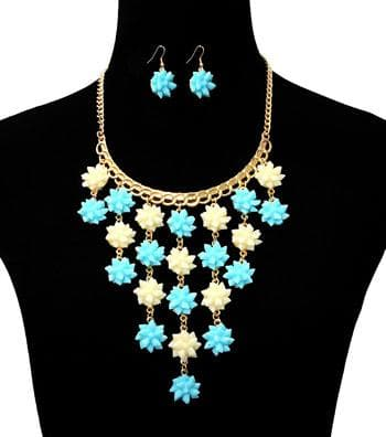 Flower Pendants Drop Gold Necklace Set - The House of Awareness