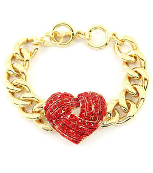 Gold Bracelet with Red Heart for Love - The House of Awareness