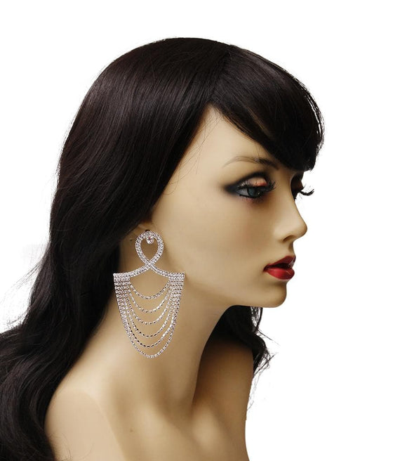 Silver and Rhinestone Chandelier Drape Earrings