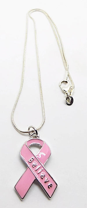 Breast Cancer Awareness Pink Ribbon Believe Charm Necklace - The House of Awareness