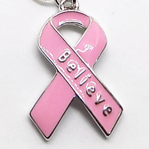 Breast Cancer Pink Ribbon Believe Black Cord Bracelet