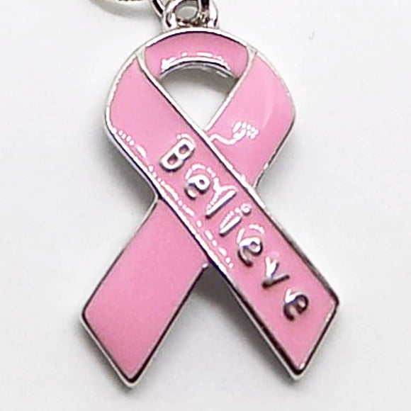 Breast Cancer Awareness Pink Ribbon Believe Charm Necklace