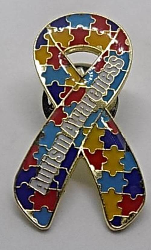 Autism Awareness Puzzle Pin with Words Autism Awareness - The House of Awareness