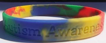 Multi Colored Autism And Asperger Awareness Puzzle Silicone ADULT Bracelet