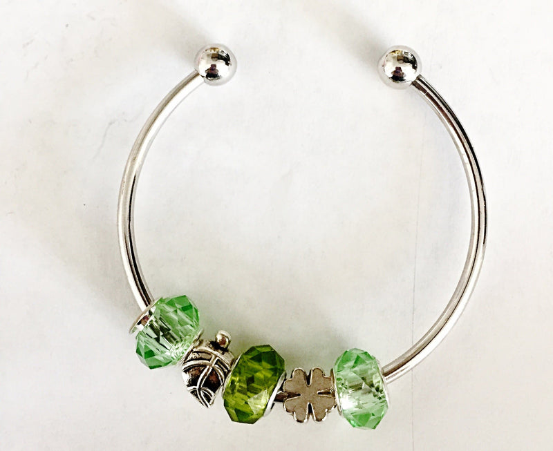 Shamrock, Leaf, and Green Charms Bangle Bracelet - The House of Awareness